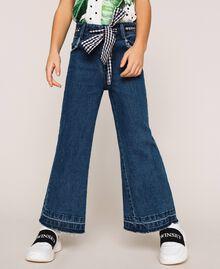 Jeans wide leg con cintura Bicolor Denim Medio / Vichy Bambina 201GJ2011-01