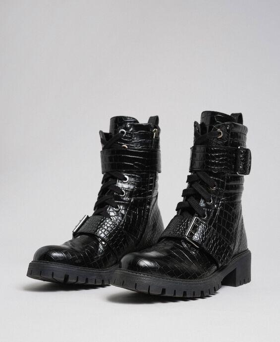 Кожаные ботинки-амфибии с принтом под крокодиловую кожу
