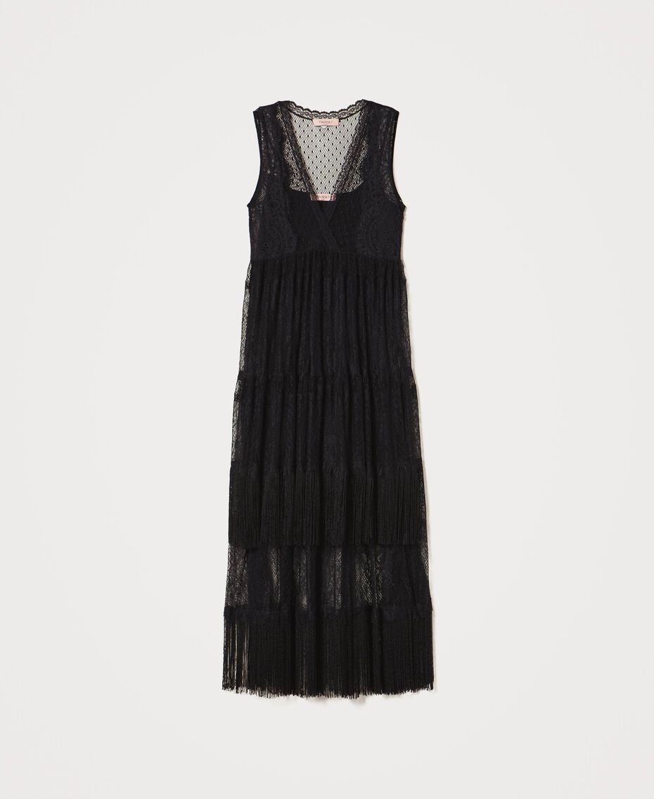 Tulle long dress with lace and fringes Black Woman 202TP2372-0S