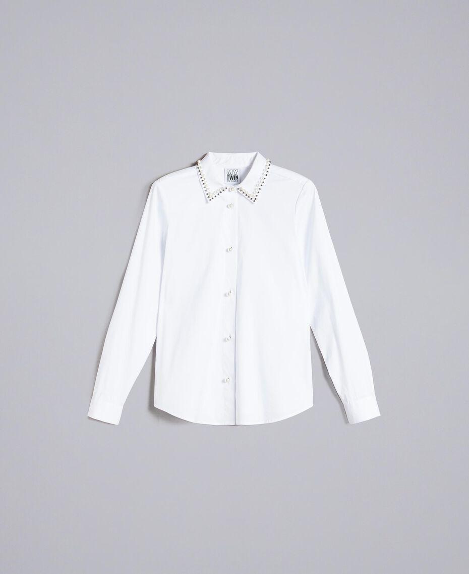 """Hemd aus Stretch-Popeline """"Ice""""-Weiß Frau JA82JB-0S"""
