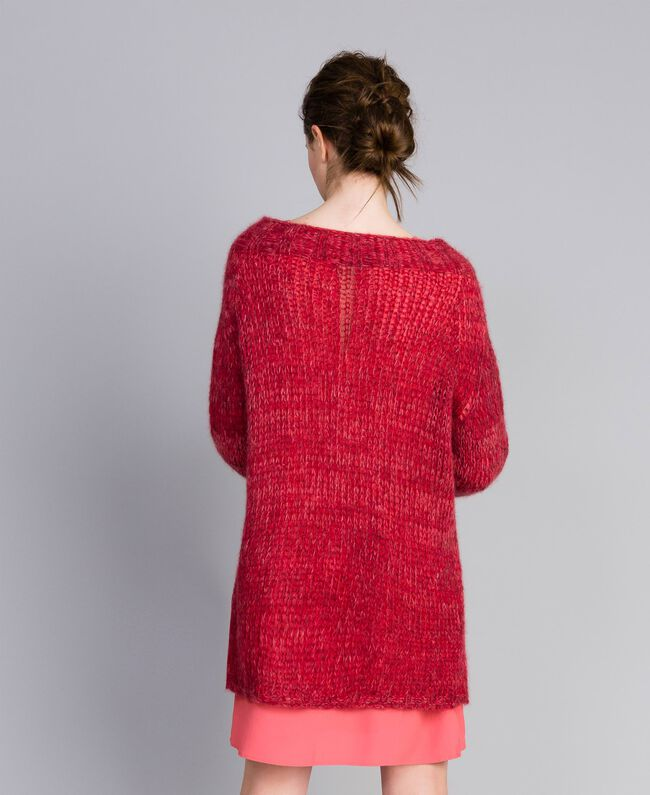 """Maxi mohair jumper """"Poppy"""" Red Mouliné Woman PA838A-03"""