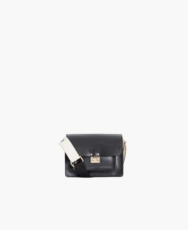 TWINSET Leather shoulder bag Two-tone Black / Ivory Woman AS8PE1-01