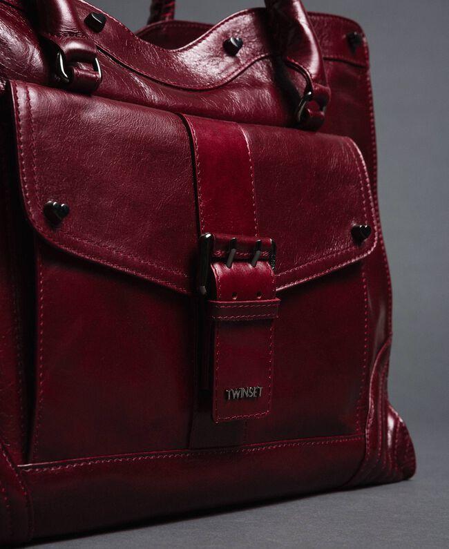 Sac cabas en cuir effet craquelé Rouge Betterave Femme 192TA7235-03