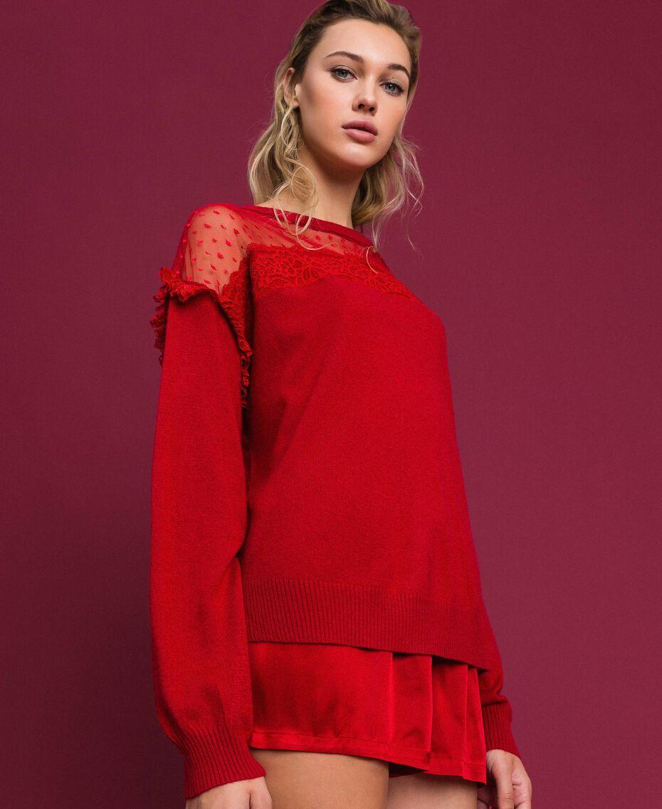 Maglia in misto angora con tulle e pizzo Rosso Ardente Donna 192LL3CUU-01