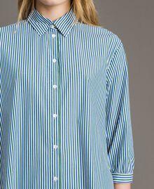 """Maxi camicia in popeline a righe con pizzo Rigato Bluette / Verde """"Evergreen"""" Donna 191TP2314-04"""