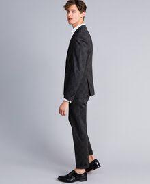 Completo giacca e pantalone stampato Stampa Quadri Grigio Melange Uomo UA82BN-02