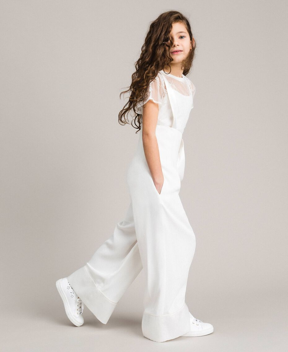 Georgette and satin jumpsuit Off White Child 191GJ2QJ0-0S
