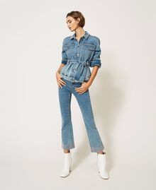 Flared jeans with studs Light Denim Woman 202MP2191-02