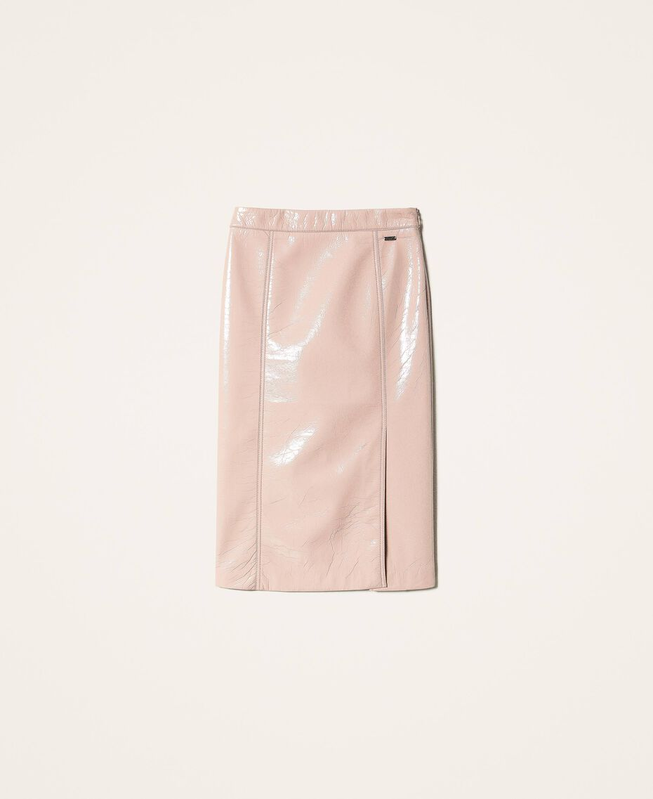 """Faux patent leather skirt """"Nude"""" Beige Woman 202ST2042-0S"""