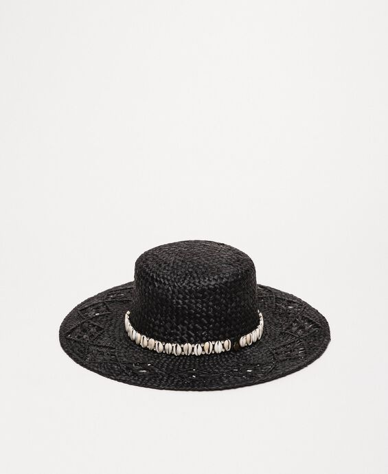 Straw hat with shells and rhinestones