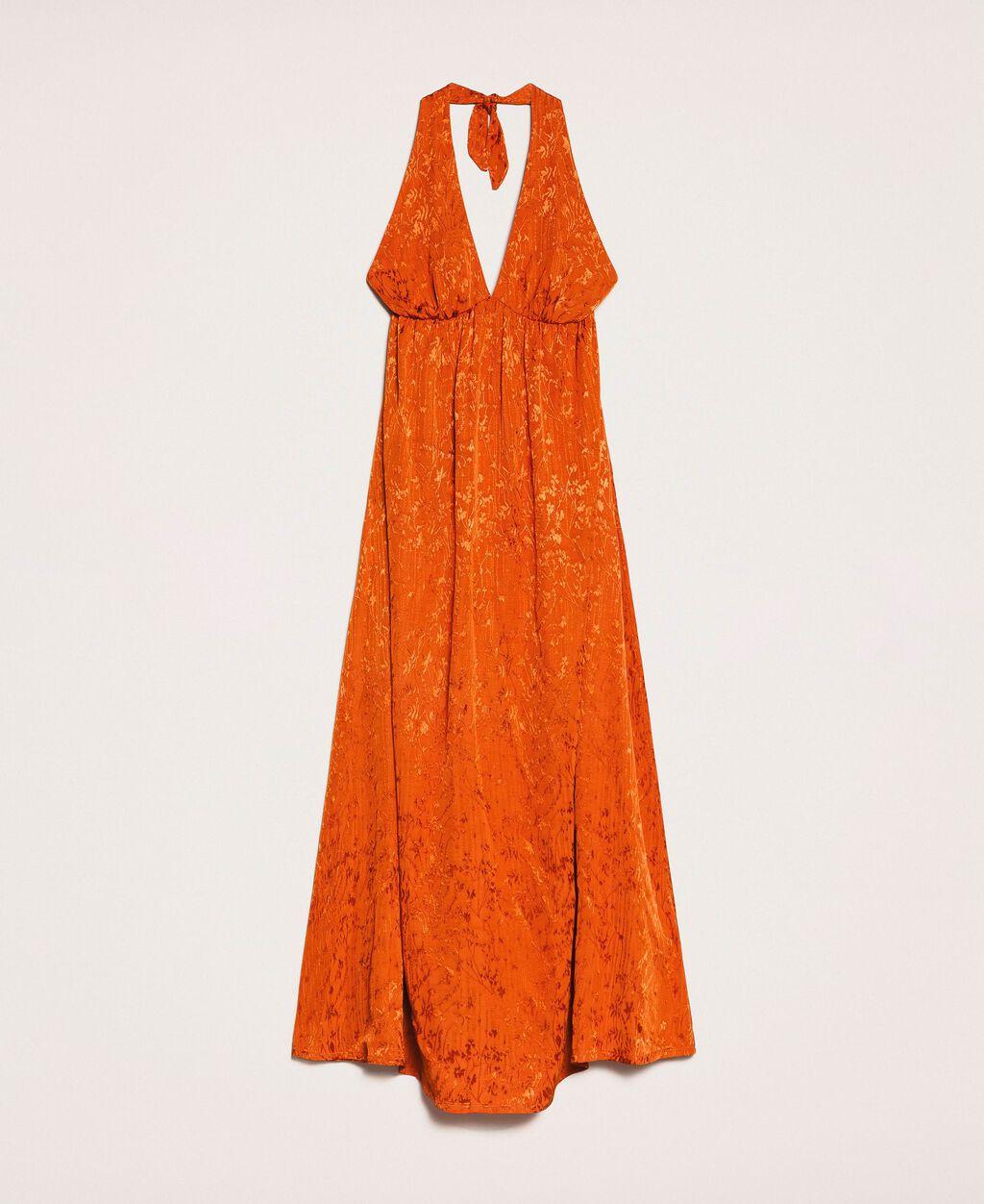 Long jacquard dress with floral design