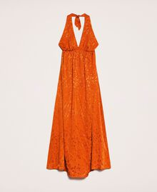 "Long jacquard dress with floral design ""Ace"" Orange Woman 201LB2HAA-0S"