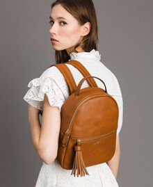 Faux leather backpack with tassel Leather Brown Woman 191TA7603-0S