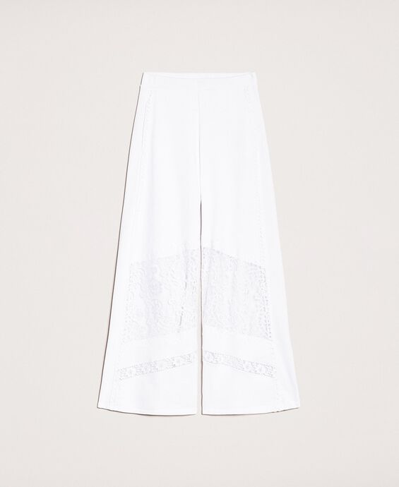 Plush palazzo trousers with lace
