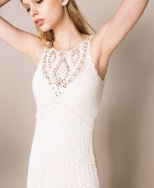 Robe longue crochet et broderies Blanc Neige Femme 201TT3150-05