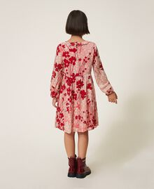 Kleid aus Georgette mit Blumendessin Blumen-Animal-Dessin Pfirsich / Kirschrot Kind 202GJ262A-04
