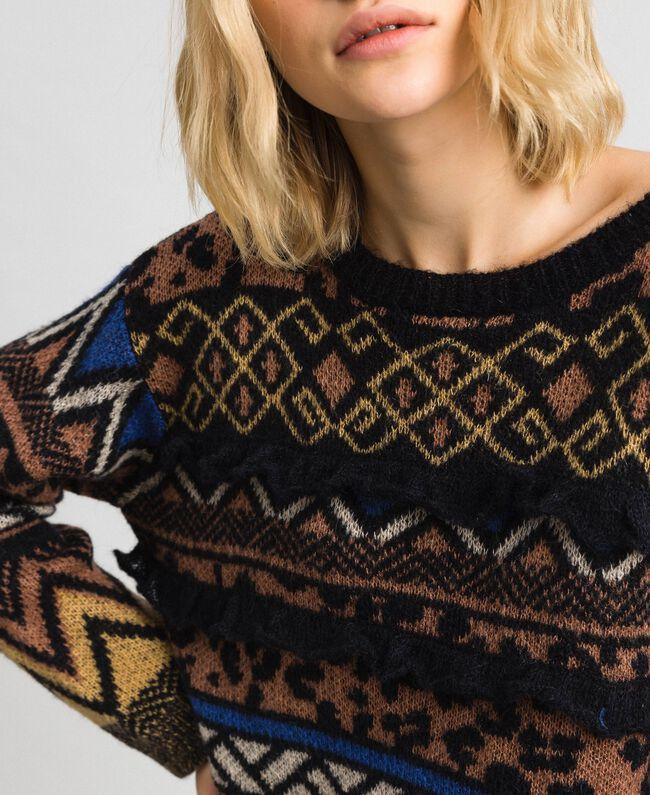 Pull en laine et mohair avec motifs jacquard Jacquard Mélange Géométrique Animalier Femme 192ST3190-04