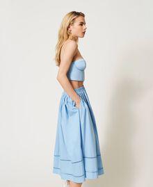 Jupe mi-longue en popeline Bleu «Ciel» Femme 211LM2EFF-04