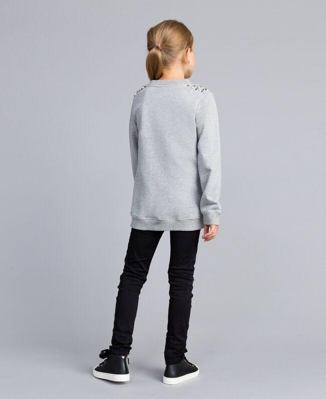Sweatshirt aus Baumwolle mit Zierperlen und Strass Hellgrau-Mélange Kind GA82V1-04