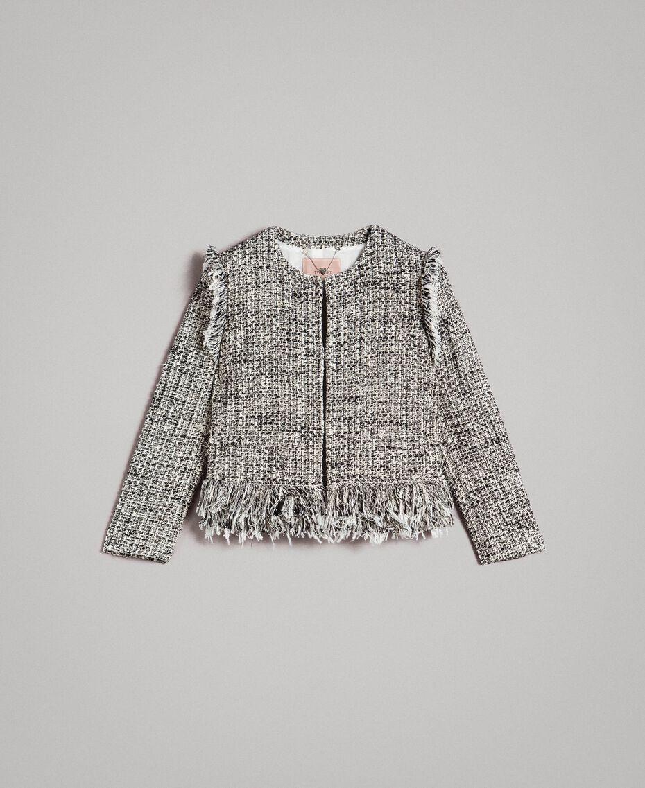 "Fringed tweed jacket Two-tone ""Snow"" White Bouclé / Black Woman 191TP2523-0S"