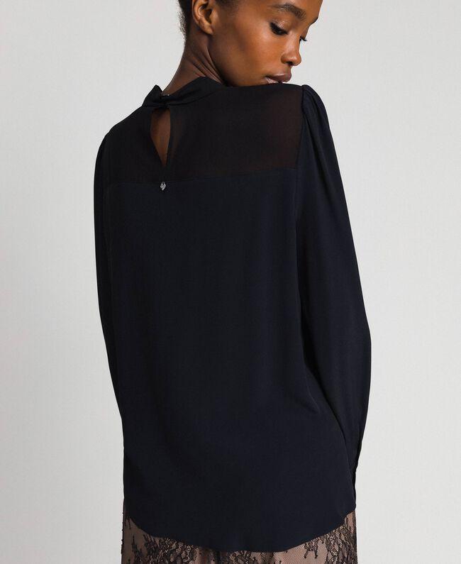 Blouse en crêpe de Chine et georgette Noir Femme 192TT2430-03