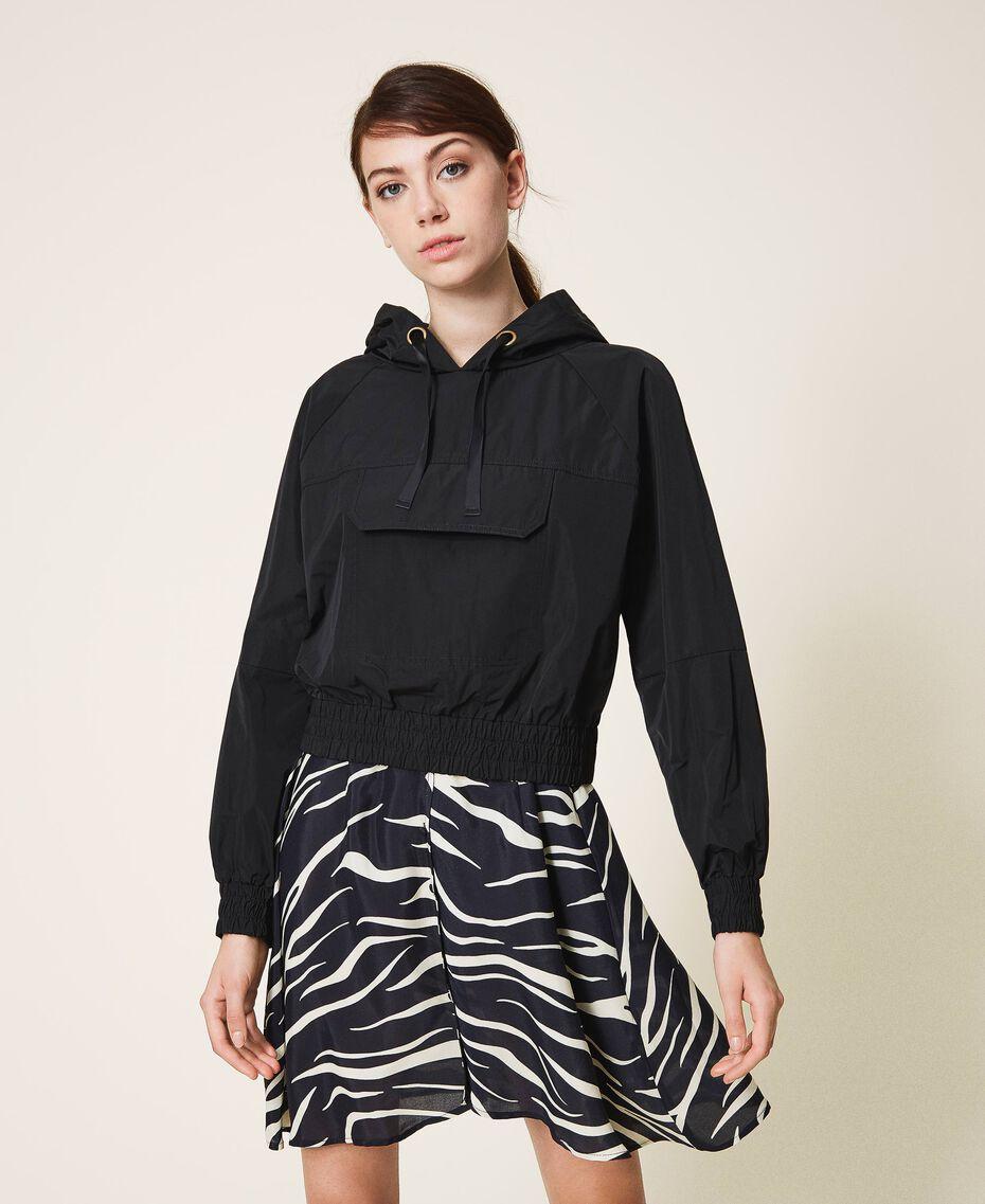 Taffeta jacket with hood Black Woman 202MP2142-02