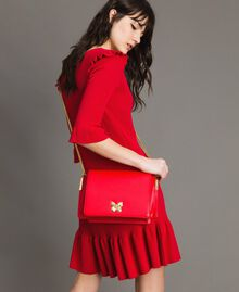 """Large leather shoulder Bea bag """"Ruby Butterfly"""" Red Woman 191TA7140-0T"""
