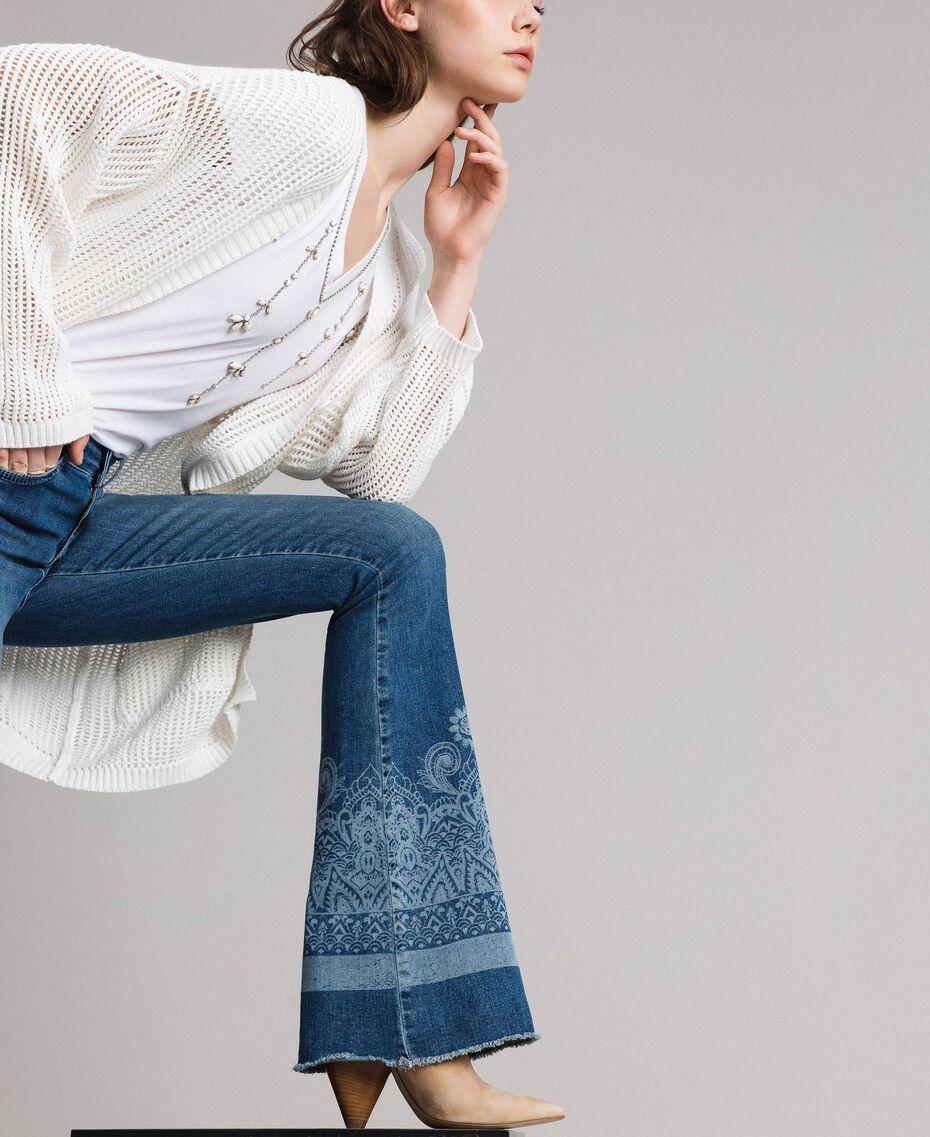 Laser pattern bell bottom jeans Denim Blue Woman 191MT2381-01