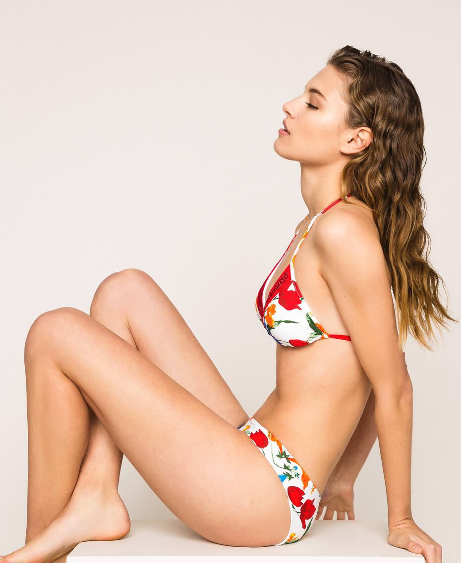 Triangle bikini top with rhinestones Optical White Floral Print Woman 201LMMM22-02