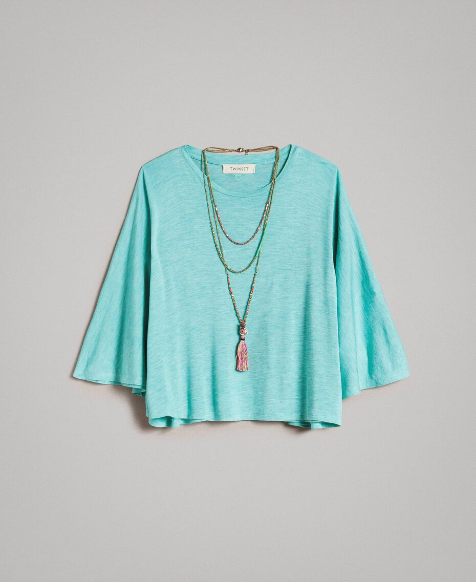 "T-shirt in jersey e collana multicolor Azzurro ""Island Paradise"" Melange Bambina 191GJ2720-01"