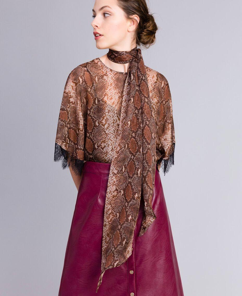 Animal print silk scarf Chocolate Snake Print Woman AA8P15-0S