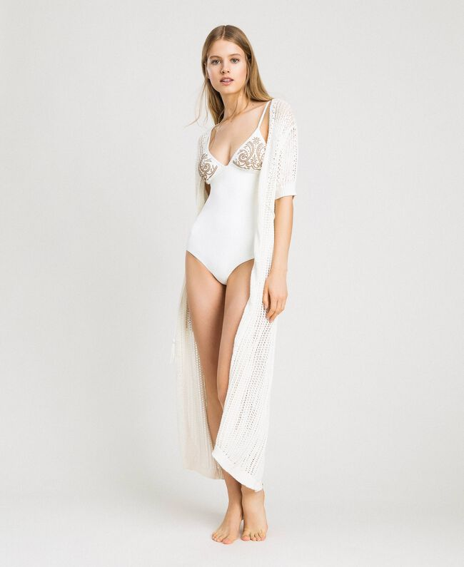 One-piece swimsuit with rhinestones Ivory Woman 191LMMR00-0T