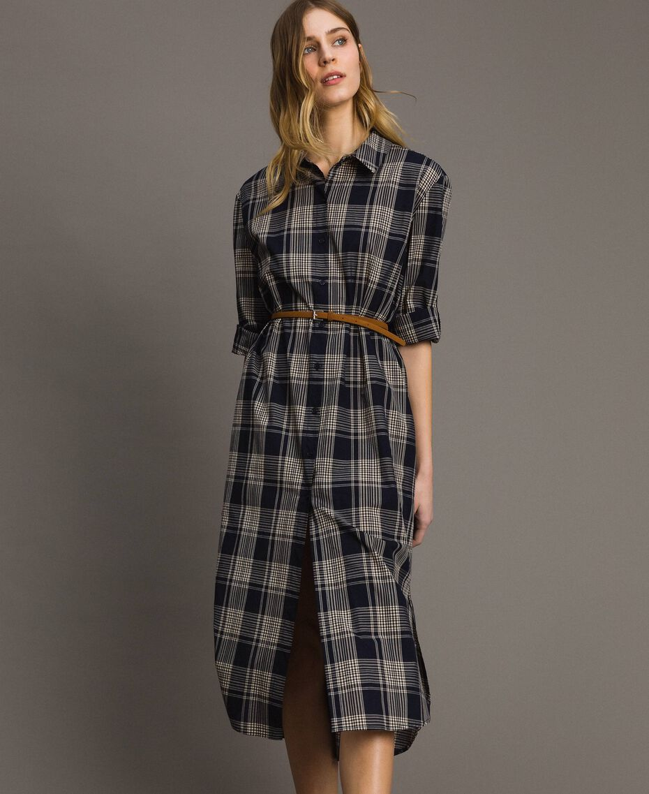 Check dress with belt Blue Shadow Check Jacquard Woman 191ST2132-02