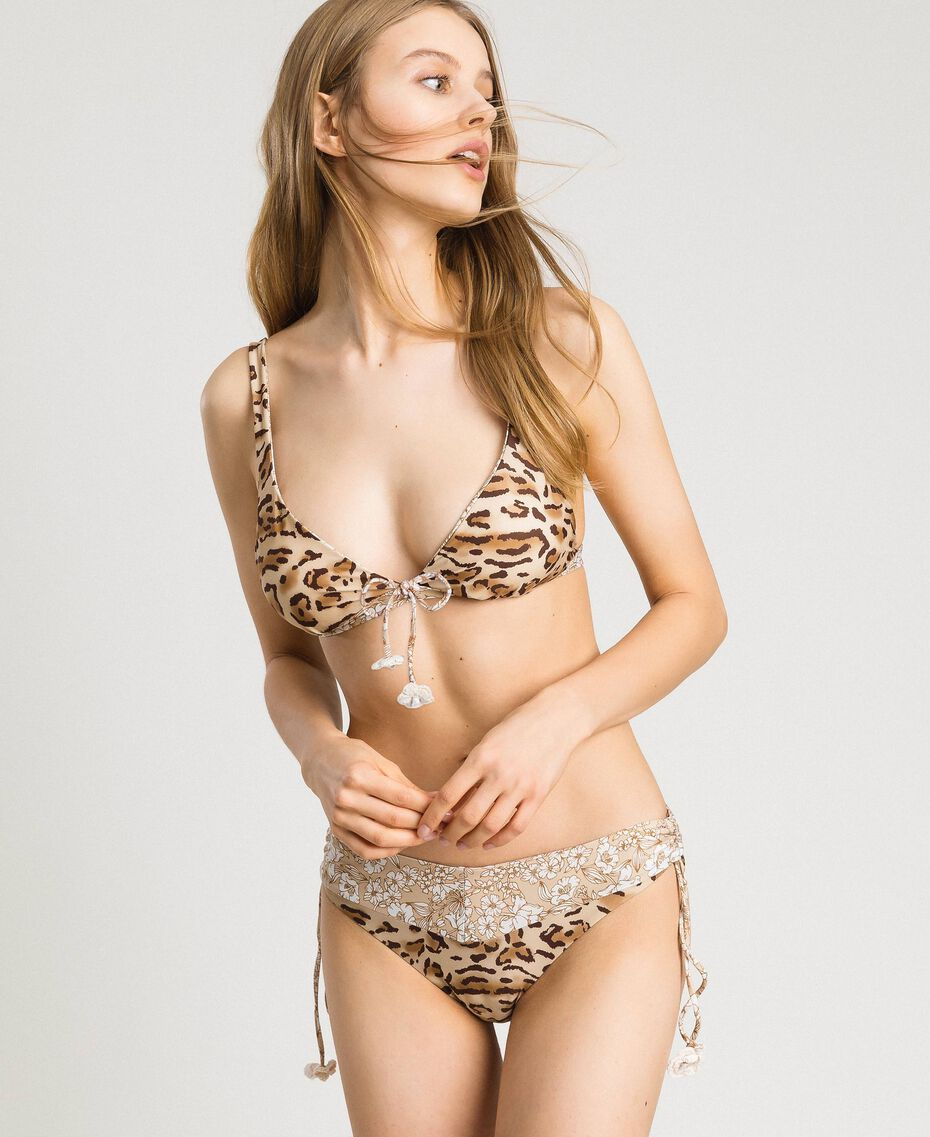 "Leopard print triangle bikini top ""Petra Sandstone"" Brown Animal Print Woman 191LMMU33-02"