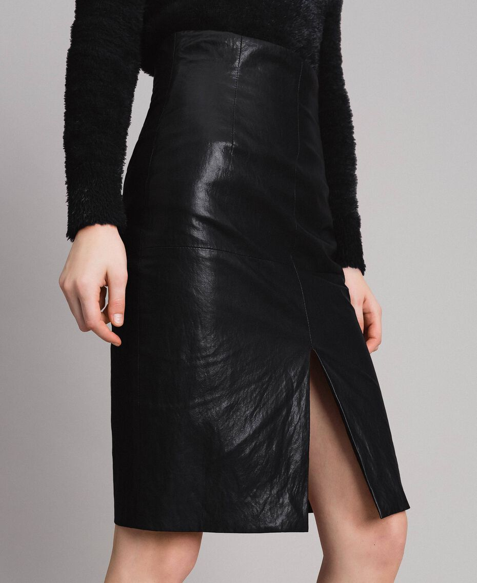Faux leather mid-length skirt Black Woman 191TP2552-02