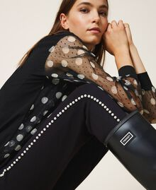 Trousers with pearl embroidery Black Woman 202TT2T52-01