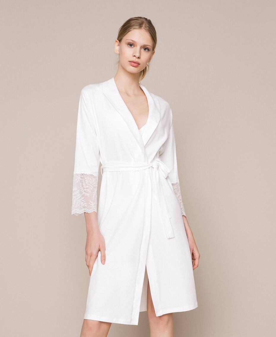 Lace dressing gown Ivory Woman 201LL21FF-01