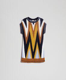 Maxi pull multicolore en laine et mohair Chevrons Bleu Nuit Femme 192ST3111-0S