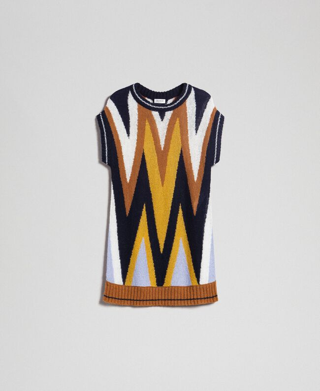 Multicolour wool and mohair maxi jumper Night Blue Chevron Woman 192ST3111-0S