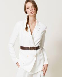 Cinturón de piel con hebilla logotipo Bicolor Marrón «Cuero» / «Marrón Oscuro» Mujer 211TO5063-0S