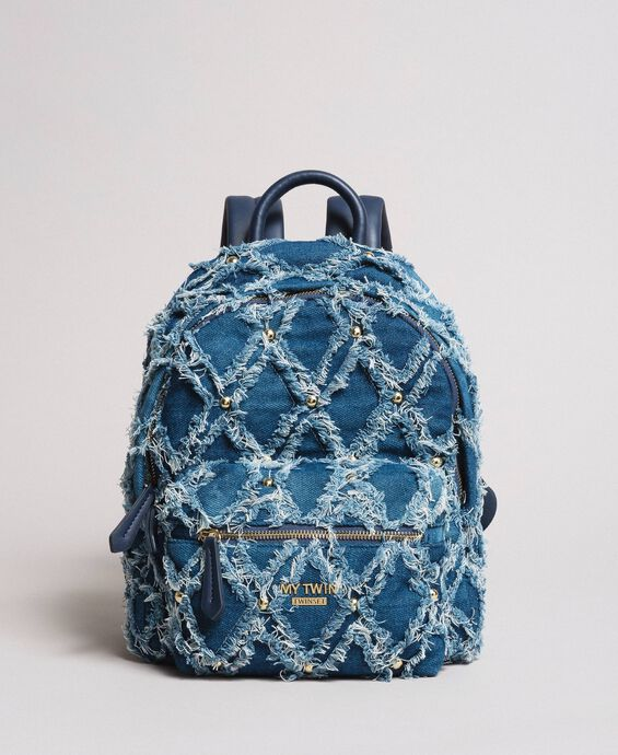 Denim patchwork-effect backpack
