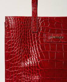 Medium leather Twinset Bag shopper Black Crocodile Print Woman 202TB7113-03