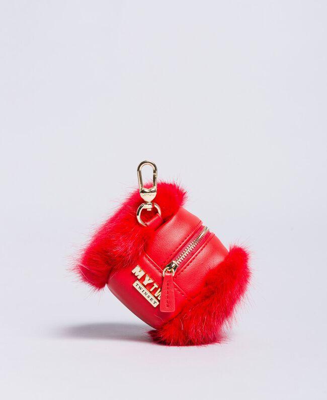 Porte-monnaie avec fausse fourrure Rouge Coquelicot Femme RA8TJB-01