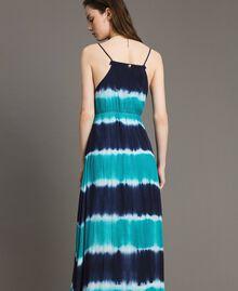 """Vestido largo tie-dye de rayas Multicolor Blunight / Off White / Verde """"Green Bay"""" Mujer 191MT2322-03"""