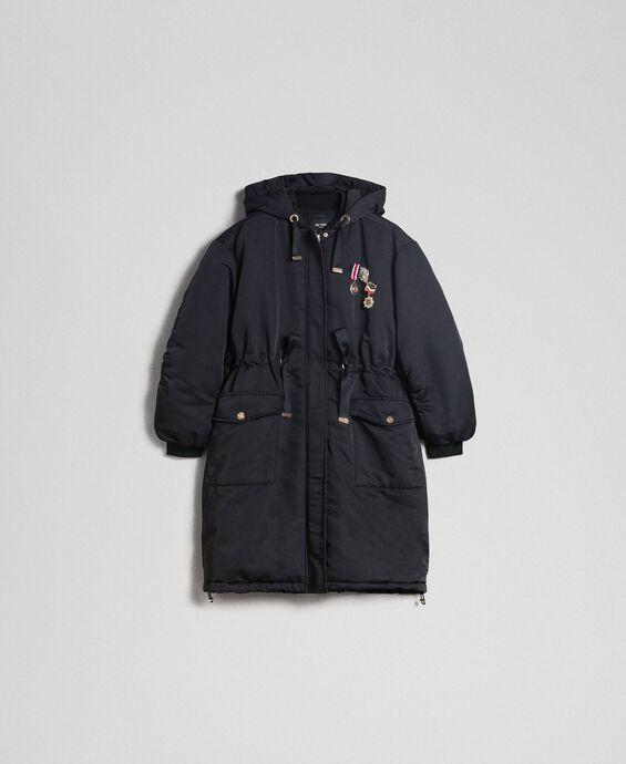 Technical satin padded parka coat