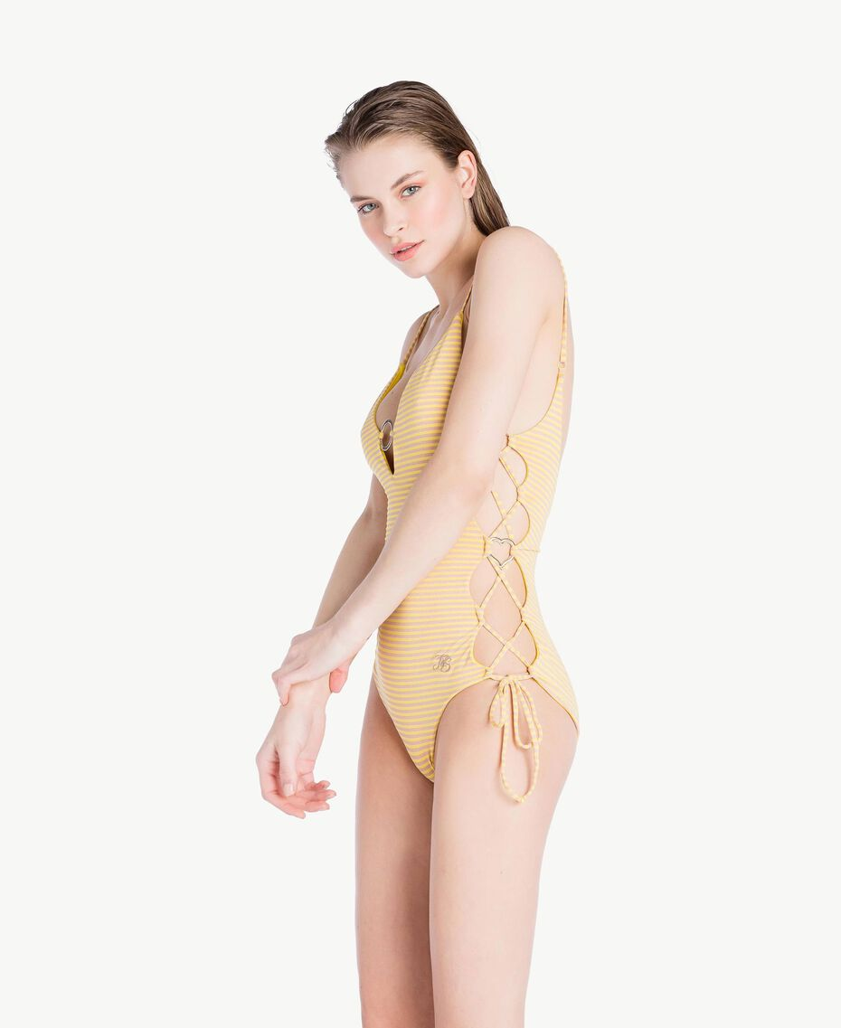 Striped one-piece swimsuit Yellow Fizz Lurex Stripes Woman MS8C00-03