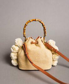 """Straw bucket bag with pompom """"Marzipan"""" Beige Woman 191TO8273-04"""