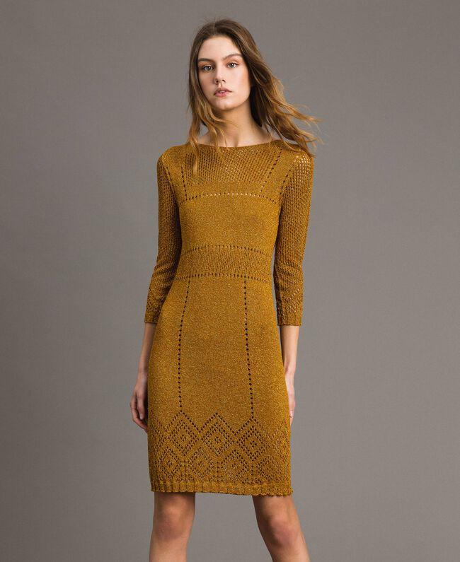 """Kleid aus Lurex mit Durchbruchmuster """"Golden Oak"""" Gold Lurex Frau 191TT3111-01"""