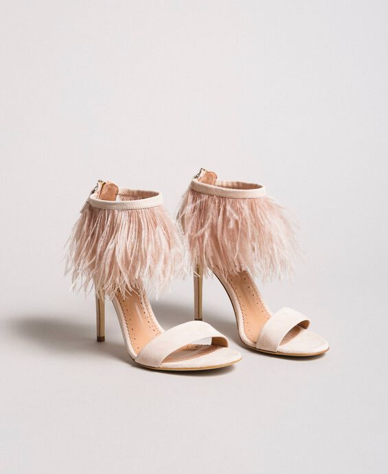 High-heel feather sandals
