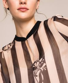 Creponne dress with stripes and flower print Floral Print over Snow/ Black Stripes Woman 201TP2301-04